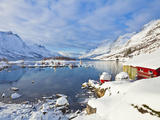 Snow Covered Mountains  Boathouse and Moorings in Norwegian Fjord Village of Ersfjord  Kvaloya Isla