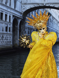 Masked Figure in Costume at the 2012 Carnival  with Ponte Di Sospiri in the Background  Venice  Ven
