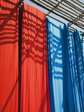Freshly Dyed Fabric Hanging to Dry  Sari Garment Factory  Rajasthan  India  Asia