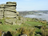 Combs Tor and Morning Fog  in the Area Where the Film War Horse Was Filmed  Dartmoor National Park