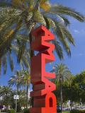 Giant Red Palma Sign on Avinguda Gabriel Roca  Palma De Mallorca  Mallorca  Balearic Islands  Spain