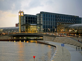 Hauptbahnhof (Central Station) at Dawn and River Spree  Berlin  Germany  Europe