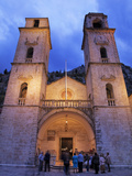 People Gathered Outside St Tryphon's Cathedral in the Evening  Kotor  UNESCO World Heritage Site