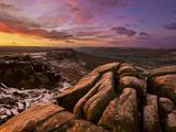 Frosty Winter Sunrise  Froggatt and Curbar Edge  Peak District National Park  Derbyshire  England