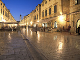 Looking Along Stradrun at Dusk  Old Town  Dubrovnik  Croatia  Europe