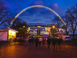 Wembley Stadium with England Supporters Entering the Venue for International Game  London  England