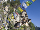 Taktshang Goemba (Tiger's Nest Monastery) and Prayer Flags  Paro Valley  Bhutan  Asia