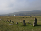 The Merrivale Stone Rows with Great Staple Door and Middle Staple Door in the Distance  Dartmoor Na
