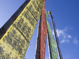 Prayer Flags Backlit by Evening Sun at Chendebji Chorten Between Wangdue Phodrang and Trongsa  Bhut