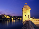 Vedette Watchtower and View across the Grand Harbour to Valletta at Dusk  Senglea  Malta  Mediterra