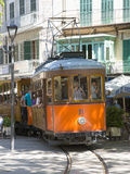 Colourful Tram in Placa Constitucio  Soller  Mallorca  Balearic Islands  Spain  Mediterranean  Euro
