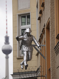 Berlin Television Tower (Fernsehturm) and Sculpture of a Soldier Jumping the Berlin Wall at Bernaue