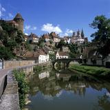 View of Town on Armancon River  Semur En Auxois  Burgundy  France  Europe
