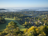 View South from Colley Hill on a Misty Autumn Morning  Reigate  Surrey Hills  Surrey  England  Unit
