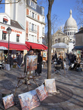 Paintings for Sale in the Place Du Tertre with Sacre Coeur Basilica in Distance  Montmartre  Paris 
