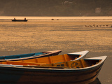 Local Fishing Boats on Phewa Lake at Sunset  Gandak  Nepal  Asia