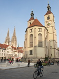 The Neupfarrkirche Protestant Church  Regensburg  Bavaria  Germany  Europe