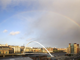 Rainbow over the Millennium Bridge  Gateshead  Tyne and Wear  England  United Kingdom  Europe