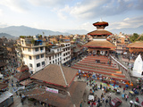 View over Durbar Square from Rooftop Cafe Showing Temples and Busy Streets  Kathmandu  Nepal  Asia