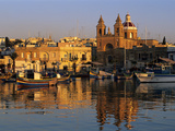 Harbour with Luzzu Fishing Boats and Marsaxlokk Parish Church at Sunrise  Marsaxlokk  Malta  Medite