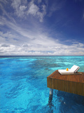 Sun Lounger and Jetty in Blue Lagoon  Maldives  Indian Ocean  Asia