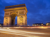 Traffic at the Arc De Triomphe at Night  Paris  France  Europe