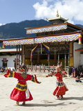 Buddhist Monks Performing Masked Dance During the Gangtey Tsechu at Gangte Goemba  Gangte  Phobjikh