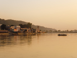 Ferry Crosssing the River Ganges at Sunset  Haridwar  Uttaranchal  India  Asia