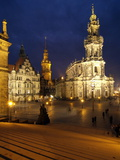 Hofkirche and Palace at Theaterplatz  Dresden  Saxony  Germany  Europe