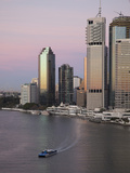 Catamaran Ferry on Brisbane River and City Centre  Brisbane  Queensland  Australia  Pacific