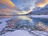 Looking across the Frozen Sea of Ullsfjord from Sjursnes  Towards the Southern Lyngen Alps  at Suns