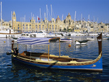 View across Dockyard Creek to Maritime Museum on Vittoriosa with Traditional Boat  Senglea  Malta
