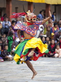 Monks Performing Traditional Masked Dance at the Wangdue Phodrang Tsechu  Wangdue Phodrang Dzong  W
