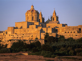 St Paul's Cathedral and City Walls  Mdina  Malta  Mediterranean  Europe