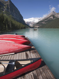 Canoes for Hire on Lake Louise  Banff National Park  UNESCO World Heritage Site  Alberta  Rocky Mou