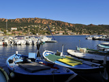 Boats in the Harbour with the Esterel Corniche Mountains in the Background  Agay  Var  Provence  Fr