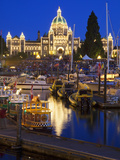 Inner Harbour with Parliament Building at Night  Victoria  Vancouver Island  British Columbia  Cana