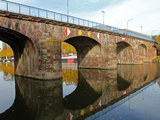 River Saar and Old Bridge (Alte Brucke)  Saarbrucken  Saarland  Germany  Europe