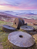 Stanage Edge Wheelstones (Millstones) and Frosty Winter Moorland Sunrise  Peak District National Pa