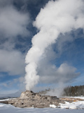 Castle Geyser Erupting in Winter Landscape  Yellowstone National Park  UNESCO World Heritage Site