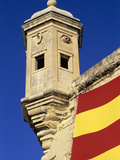 Vedette Watchtower and Senglea Flag  Senglea  Malta  Mediterranean  Europe