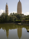 Pagodas from Agglomeration Pond  Chongsheng Temple (Three Pagodas Temple)  Dali  Yunnan  China  Asi