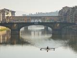 Ponte Santa Trinita and Ponte Vecchio over the River Arno  Florence  UNESCO World Heritage Site  Tu