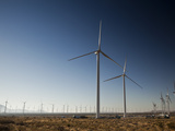 Very Large Wind Turbines Just Outside Mojave  California  United States of America  North America
