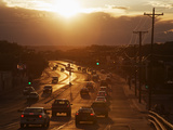 Setting Sun on Avenida Boulevard  Albuquerque  New Mexico  United States of America  North America
