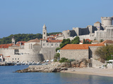 City Beach and View of Old Town  UNESCO World Heritage Site  Dubrovnik  Croatia  Europe