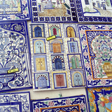 Tiles Decorated with Tunisian Doorways on Souvenir Stall  Hammamet  Cap Bon  Tunisia  North Africa
