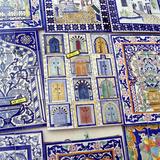 Tiles Decorated with Tunisian Doorways on Souvenir Stall  Hammamet  Cap Bon  Tunisia  North Africa