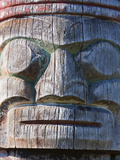 Weathered Face on Totem Pole Outside the Maritime Museum  Vancouver  British Columbia  Canada  Nort