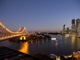Story Bridge  Kangaroo Point  Brisbane River and City Centre at Night  Brisbane  Queensland  Austra